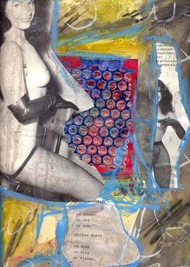 """Saatchi Art Artist Torben Dalhof; Collage, """"Bettie Page #1"""" #art"""