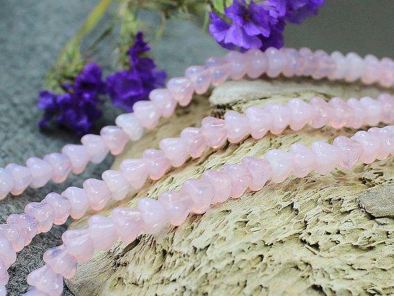 Czech Glass Flower Beads  30Pc Milk Pink от JewelryBeadsByKatie Czech Glass Beads to create jewelry #beads #glasbeads #beadsupplies #czechbeads #glassbeads