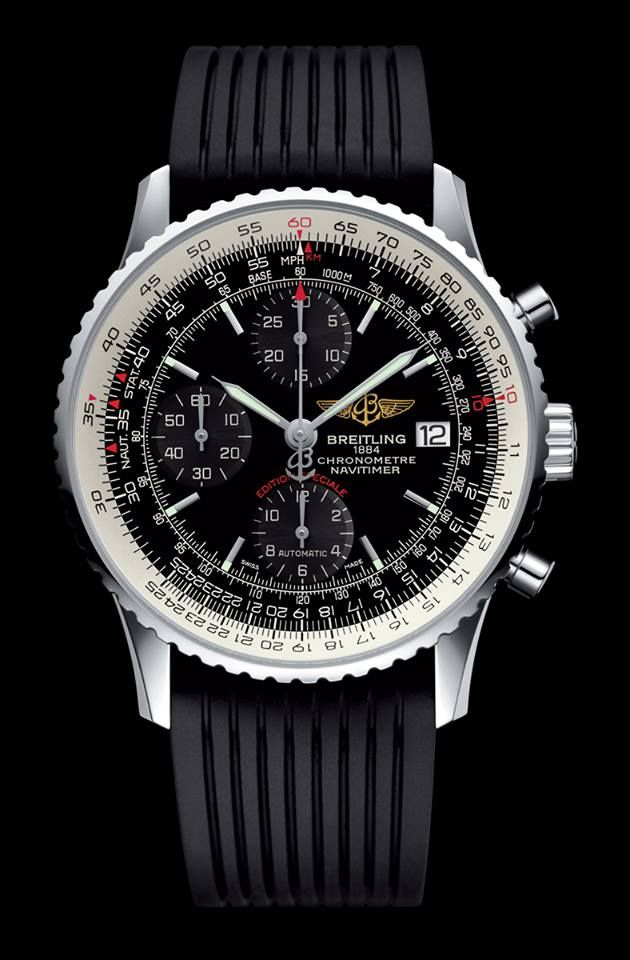 A tribute to the original Navitimer (1952), this special edition is distinguished by its slightly smaller diameter and its black or blue dial featuring tone-on-tone counters. More information also on: https://www.breitling.com/en/models/navitimer/navitimer-heritage/