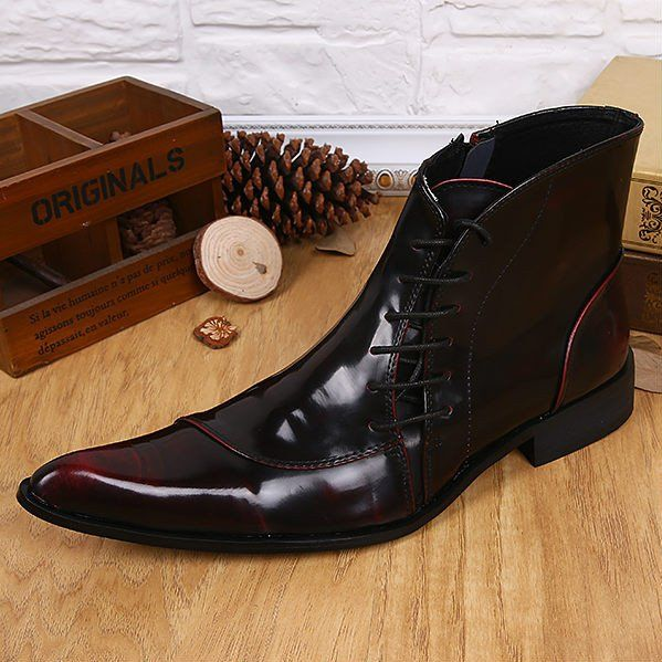 Pointed Toe Men Ankle Boots  Leather Lace Up