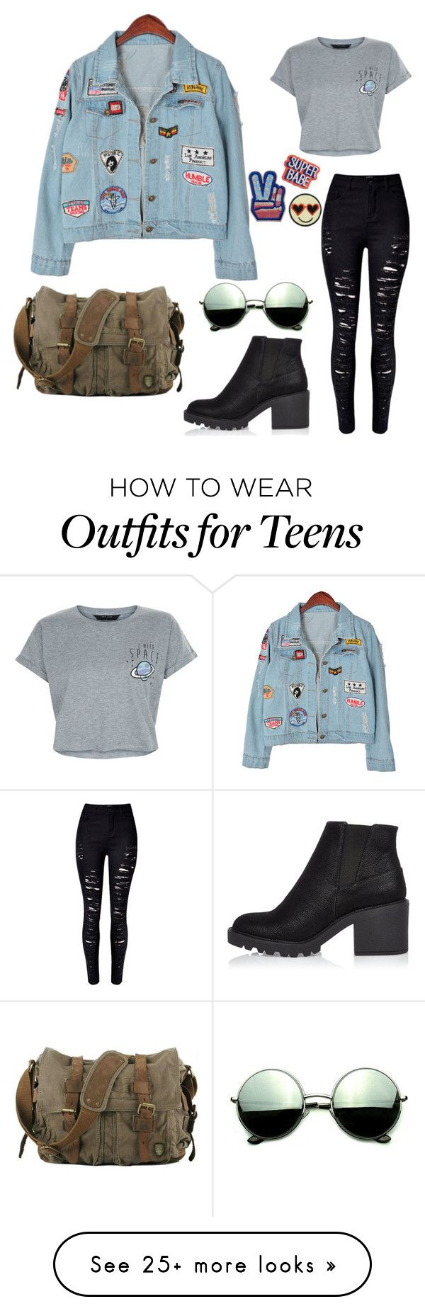 """Grunge Denim Jacket"" by tragicmistakes on Polyvore featuring WithChic, New Look, Chicnova Fashion, River Island, Revo, grunge, denimjackets and WardrobeStaples"
