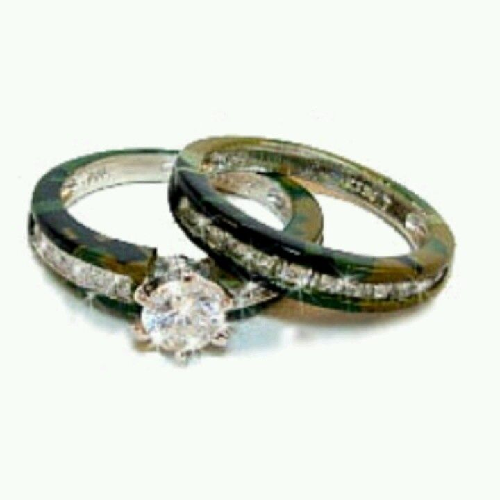 womens camo wedding bands - Camo Wedding Ring Set