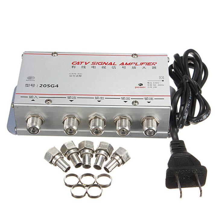 1 Unidades Estándar AC 220 V 50Hz de $ number Vías CATV Cable de Señal de TV amplificador AMP Video Booster Divisor Adaptador universal Herramientas Pro EE. UU. Plug