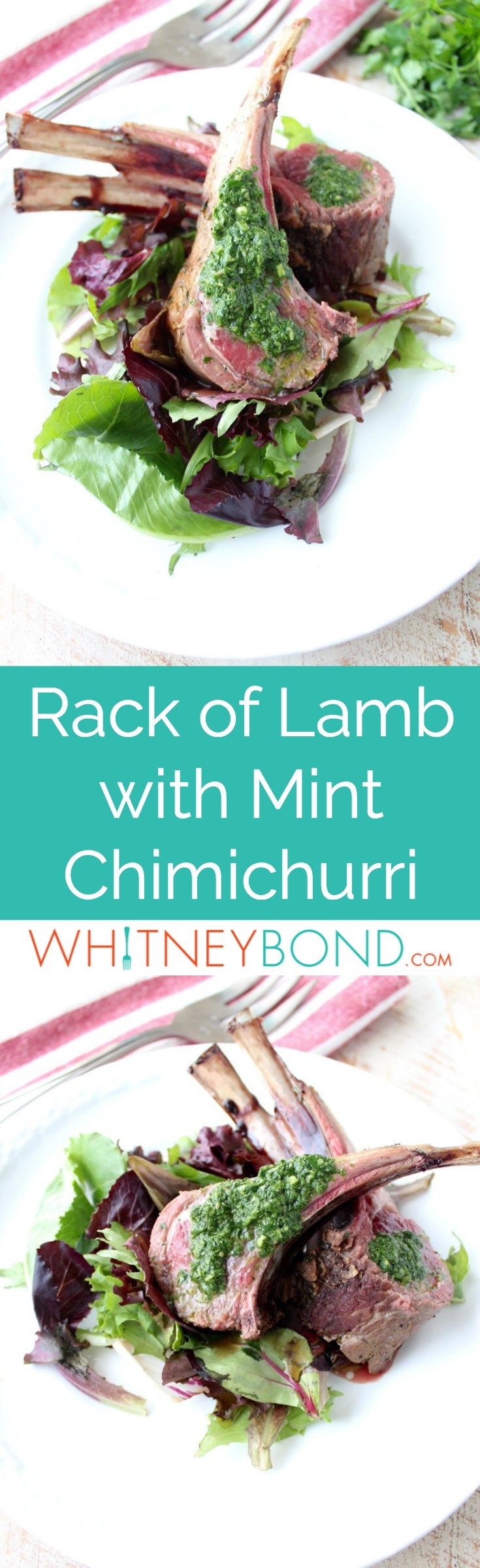 Rack of lamb is rubbed with herb butter, then roasted and topped with a mint chimichurri sauce in this elegant dinner recipe! #lamb #recipes #glutenfree
