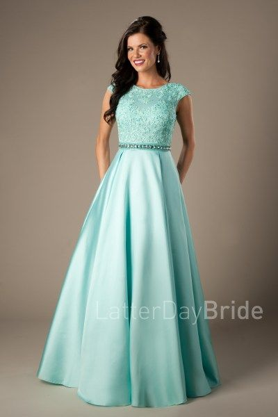 Modest Prom Dress 2017 | LatterDayBride & Prom | SLC | Utah | Worldwide Shipping | Afton | This modest prom gown features a high neckline, soft lace bodice, dazzling natural waistband and a satin pleated skirt. In Aqua