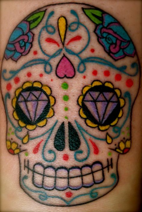 Candy skull tattoo, mexican skull tattoo