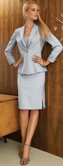 Dove Gray Skirt Suit and Gray High Heel Sandals