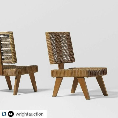 @wrightauction ・・・ #PierreJeanneret  pair of rare lounge chairs from the Yves Korbendau residence, Morocco.  c.1956  #LeCorbusier + #Jeanneret | 10.29.15