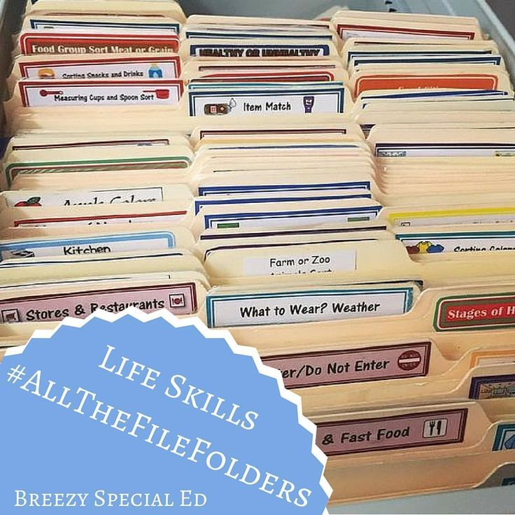 Practicing life skills with file folders. I love these activities for my…