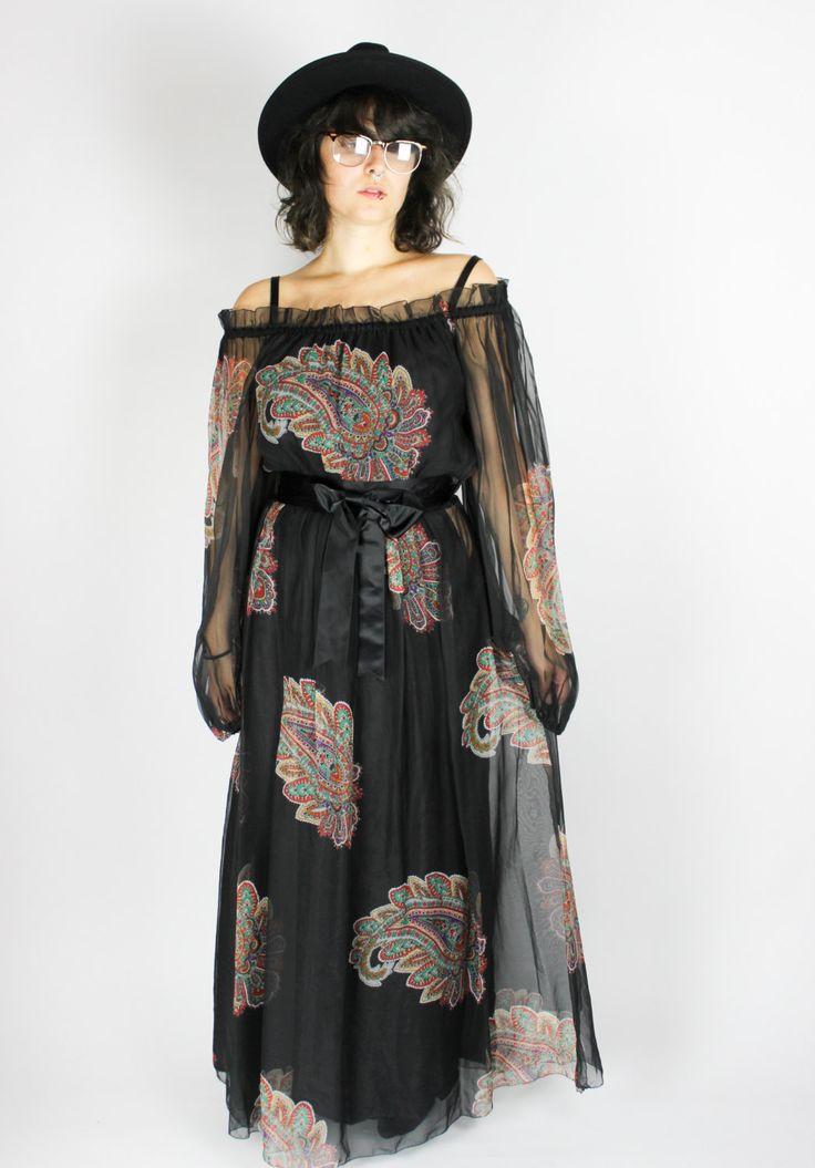 "Black Vintage 70′s Maxi Dress ""PAISLEY"" Floral Pattern Chiffon Bow Transparent Sheer Hippie Boho Folk Festival Gypsy Colorful Print Dress von shttyfcky auf Etsy"