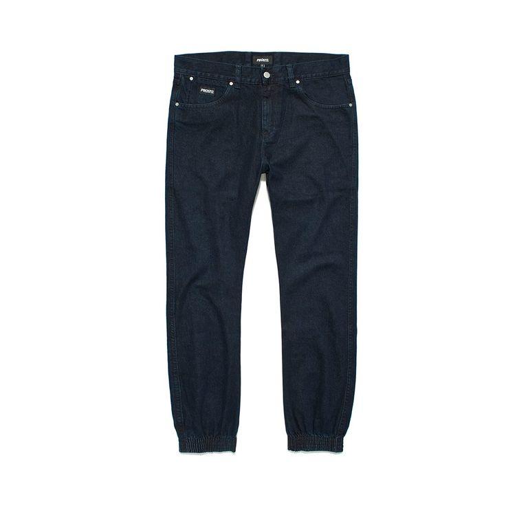 Spodnie Jeansowe REGULAR JOGGER DARK BLUE Spodnie jeansowe skrojone w stylu 'regular'. Ściągacze w nogawkach. Metka Prosto na kieszonce.