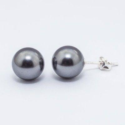 Swarovski Pearl Earrings 10mm Dark Grey  Dimensions: length: 2,2cm pearl size: 10mm Weight ~ 3,30g ( 1 pair ) Metal : sterling silver ( AG-925) Stones: Swarovski Elements 5818 10mm Colour: Crystal Dark Grey Pearl 1 package = 1 pair Price 9.90 PLN( about`2,5 EUR)