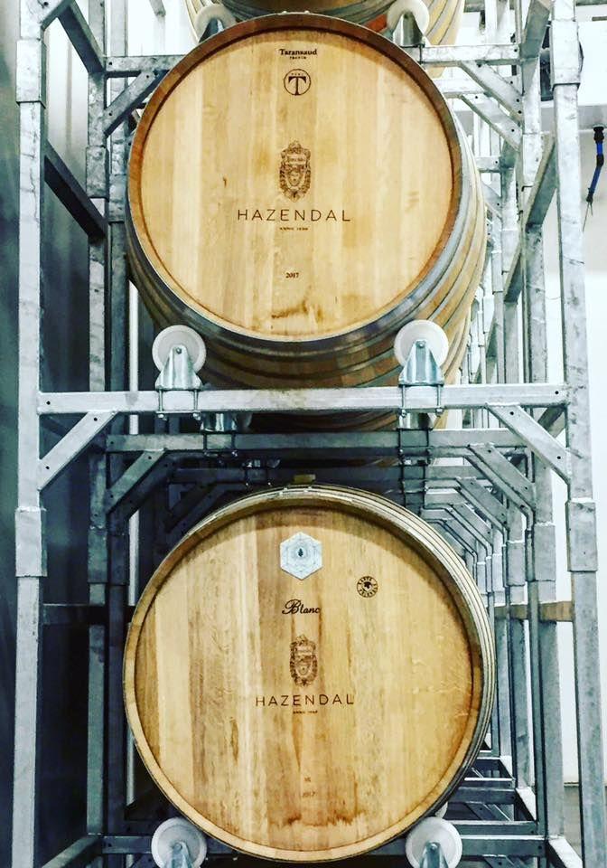 Wine aging in wine barrels at Hazendal Wine Estate, Stellenbosch