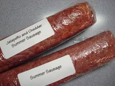 Homemade Summer Sausage Aka Salami - I added 2 tsp of liquid smoke 2 tsp of mustard seed, 2 tsp garlic powder, 1 tsp onion powder, 1 tsp black pepper and 1 tsp crushed red pepper. 2 Tbs Quick Tender and 1 Cup Water. Baked at 325 1 1/2 hours.