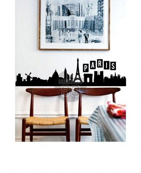 Skyline Parigi Wall Decal di Sticker99 su Etsy