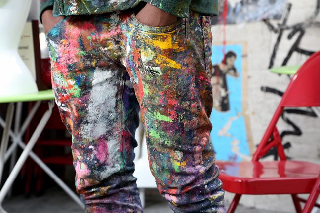 splatter paint jeans