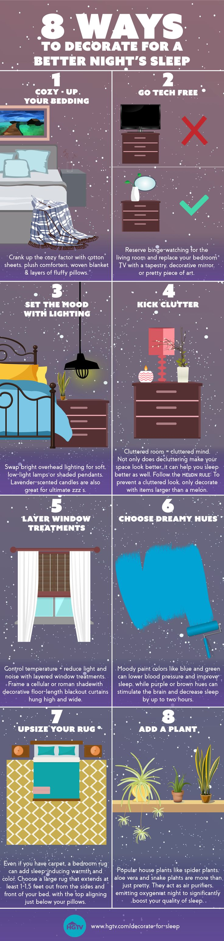 Snuggle up in style with easy design tricks that can improve your quality of sleep.