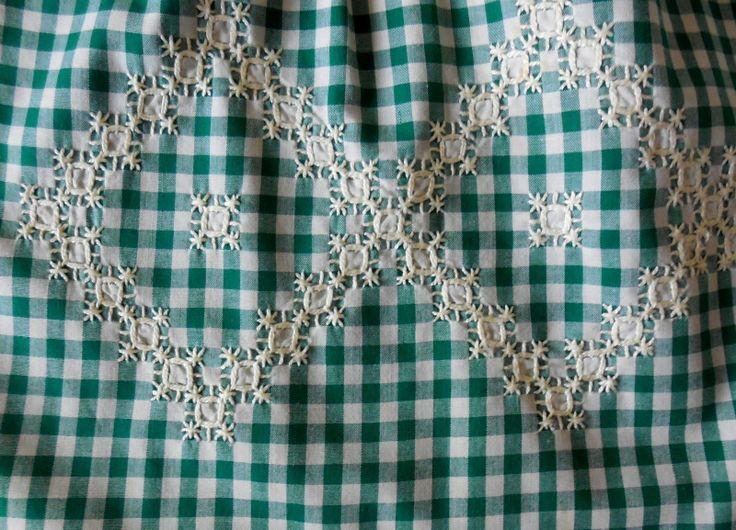 Dark Green White Gingham Checker Hand Embroidered Country Kitchen Half Apron |