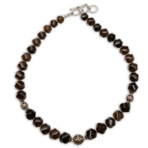 Silver Smoky Quartz Gemstone Necklace Size: 48.26 Cm: ShalinCraft: Amazon.co.uk: Jewellery