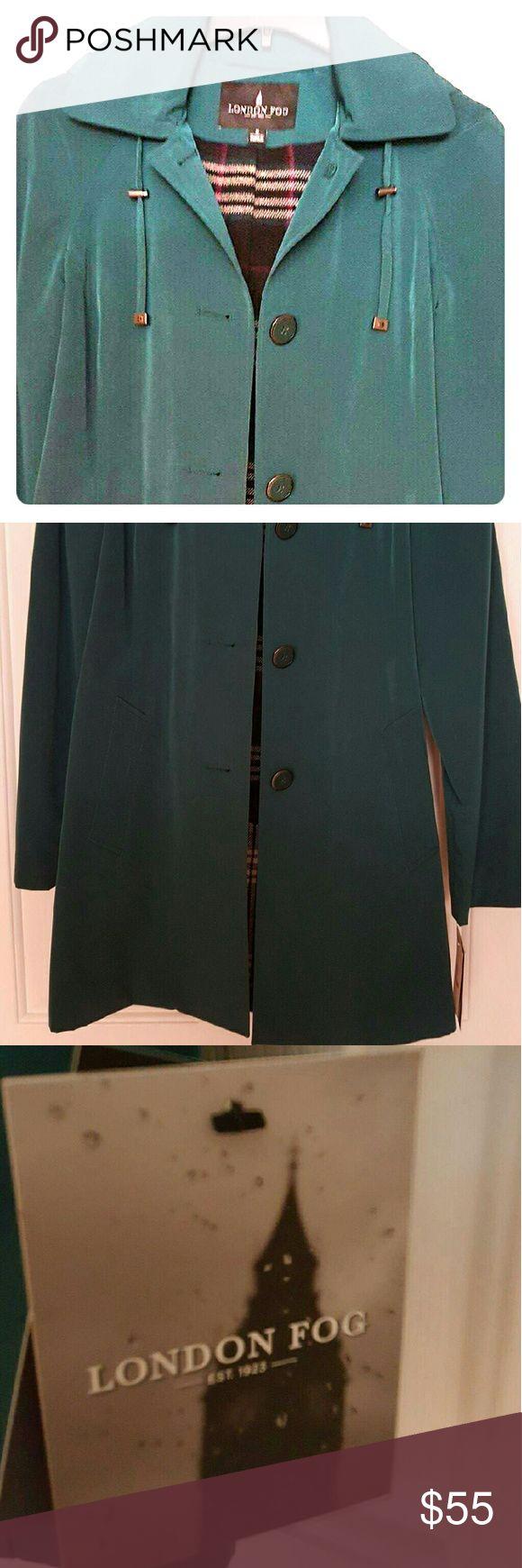 SALE! *Green London Fog Raincoat* Brand new dark green raincoat with a hood. Has plaid interior. London Fog Jackets & Coats Utility Jackets