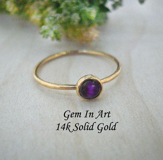 Amethyst Gold stacking Ring14K Solid Gold Stacking RingGold