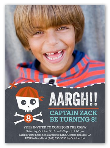 Pirate Party 5x7 Boys Birthday Invitations