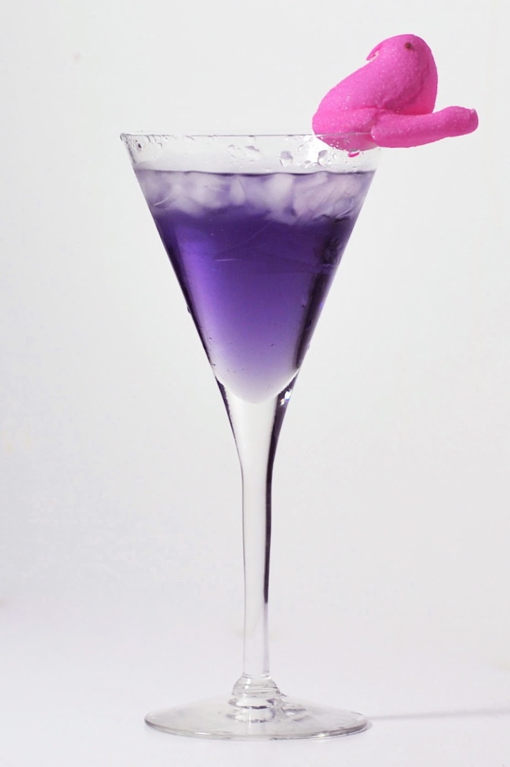 Emmy DE * 6oz Van Gogh Blueberry-Açai Vodka • 1oz Sweet Vermouth • 1 marshmallow peep • Pour alcohol into a shaker filled with ice cubes, chill and strain into glass, garnish with marshmallow peep.
