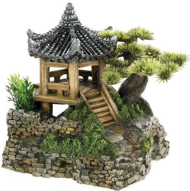 Classic Pagoda House & Plants Aquarium Ornament Fish Tank Decoration