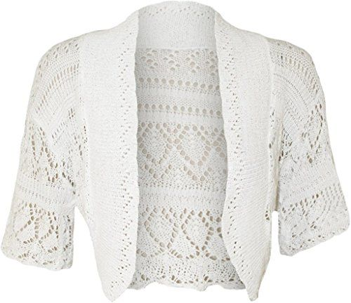 ZJ Clothes Women Ladies Crochet Knitted Shrug Cardigan Bolero Sweater