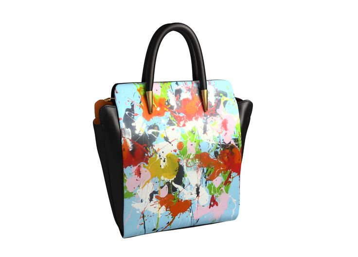 """New collaboration with the """"arts2be"""" creative brand, combining luxe quality and art, unique piece online order. """"Cathrine"""" in black leather with a work of artist Isabelle Pelletane"""