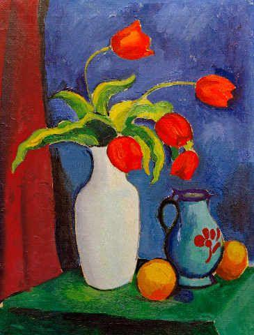 August Macke - Rote Tulpen in weißer Vase - jetzt bestellen auf kunst-fuer-alle.de