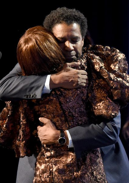 Honoree Denzel Washington (L) and actress Cicely Tyson speak onstage during BET Presents the American Black Film Festival Honors on February 17, 2017 in Beverly Hills, California. - BET Presents the American Black Film Festival Honors - Show