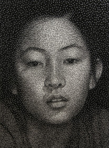 Kumi Yamashita, pins and thread make portrets