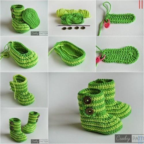 Yeşil Örgü Bebek Bot Modeli Yapmak