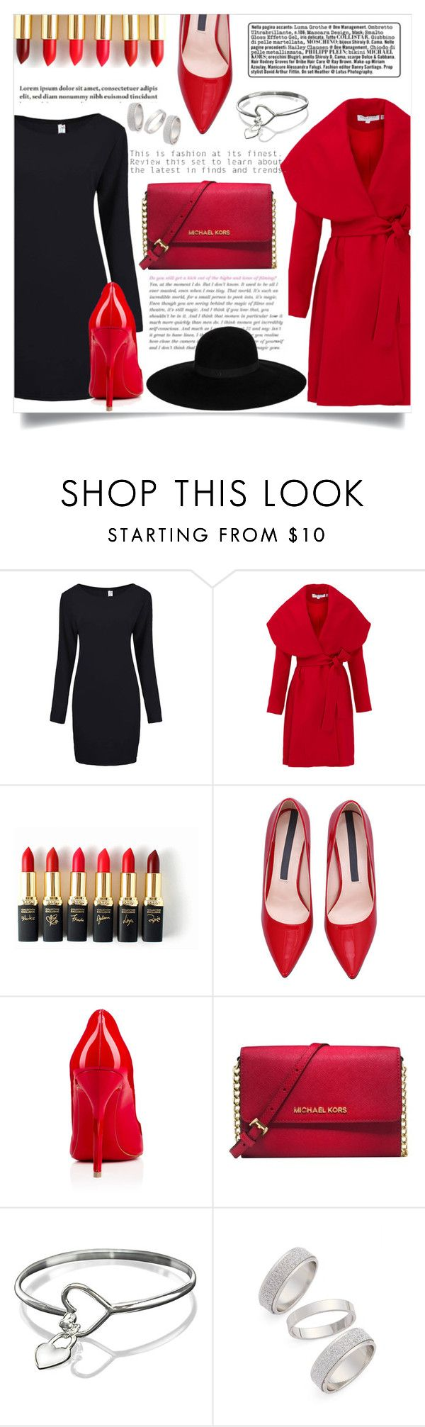 """Red style"" by andreagojkovic ❤ liked on Polyvore featuring Keepsake the Label, L'Oréal Paris, Tiffany & Co., Christian Louboutin, Michael Kors, Topshop, Maison Michel, women's clothing, women's fashion and women"