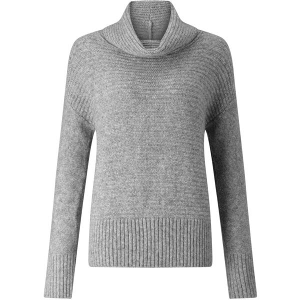 BOSS Orange Wilke Ribbed Jumper, Grey (12.035 RUB) ❤ liked on Polyvore featuring tops, sweaters, gray sweater, ribbed sweater, grey jumper, jumper top and gray top
