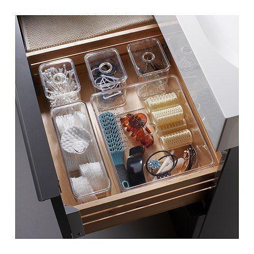 GODMORGON Doos met deksel, set van 5 IKEA Helpt je bij het netjes opbergen van sieraden, make-up en flessen.