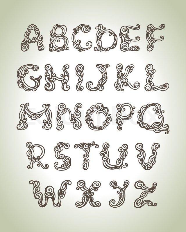 Swirly alphabet, vintage hand drawn doodle illustration | Vector | Colourbox on Colourbox