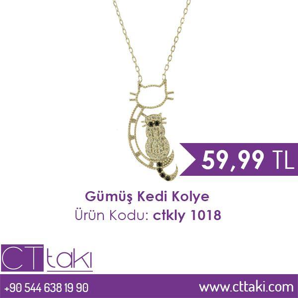 Gümüş Kedi Kolye. 59,99 TL fiyatı ile CT Takı'da. #gümüş #kedi #kolye #indirim #ucuz #fiyat #takı #tasarım #takıtasarım #aksesuar #şık #moda #kadın #women #trend #trends #cttakı