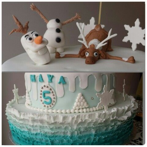 Disney Frozen fondant  cake  with Olaf  and Sven.