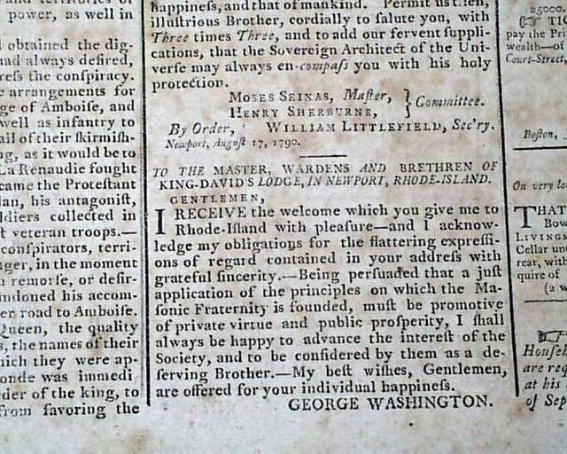 a letter to president george washington During a visit to newport, ri, in 1790, a year before the bill of rights was ratified, president george washington received a letter from moses seixas, warden of.
