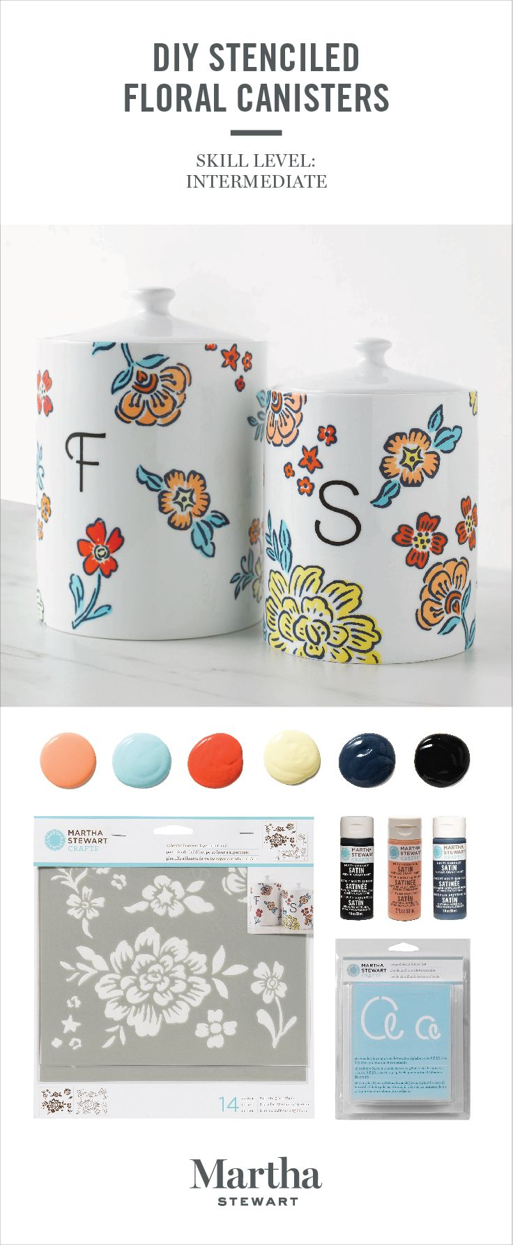 Transform plain storage canisters into customized display pieces with Martha Stewart Multi-Surface Acrylic Craft Paints and Stencil Sets! Shop our expanded assortment of all-new craft paints and tools only at @michaelsstores.