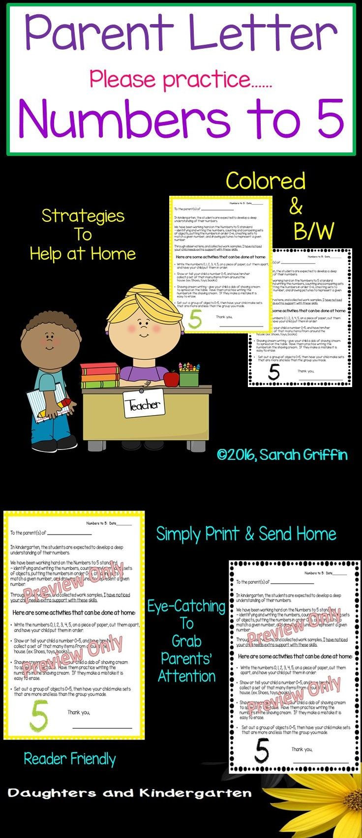 Parent Letter asking them to help their child with Numbers to 5. This math standard covers counting, ordering, comparing sets of objects, etc.  Suggestions are given for parents to help at home.  Sarah Griffin, Daughters and Kindergarten https://www.teacherspayteachers.com/Product/Parent-Letter-Practice-Numbers-to-5-940114