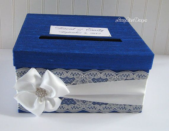 Custom Wedding Card Boxes Card Holder Money Card Box Cobalt Blue Lace on Etsy, $78.00