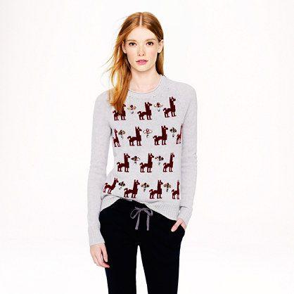 Jeweled llama sweater