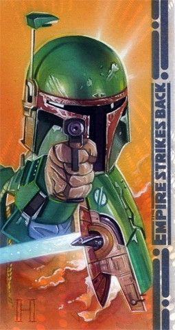 star wars, robert hendrickson, sketch cards, boba fett
