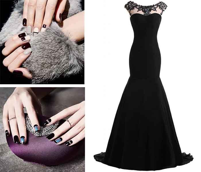 cool-black-nail-painting-for-black-prom-dresses