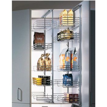 Pantry fittings single extension pantry pull out by for Narrow pull out kitchen storage