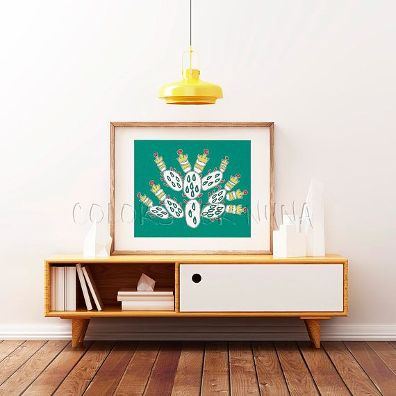 Cactus art print for Aztec wall art. Tribal cactus called Nopal, cactus digital paper, with tribal pattern of Mexican art for aztec decor. In Lake Texcoco the aztecs saw a sign of god: an eagle, on a cactus, devouring a snake; and founded there the city of Tenochtitlán (in its ruins