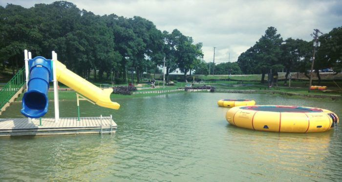 Jump on water trampolines or slide away at Lake Murray Water Sports.